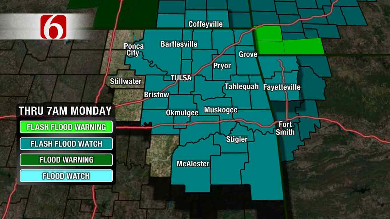 Severe Thunderstorm, Flash Flood Watches In Effect In Green Country
