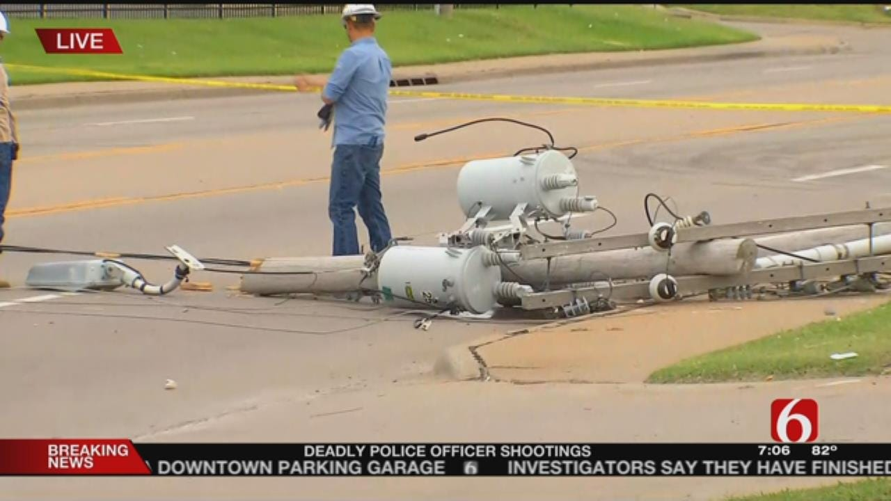 Semi Pulls Down Pole, Causes Power Outage Near 51st And Mingo