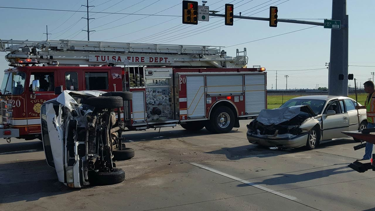 Two Injured In Tulsa Rollover Crash