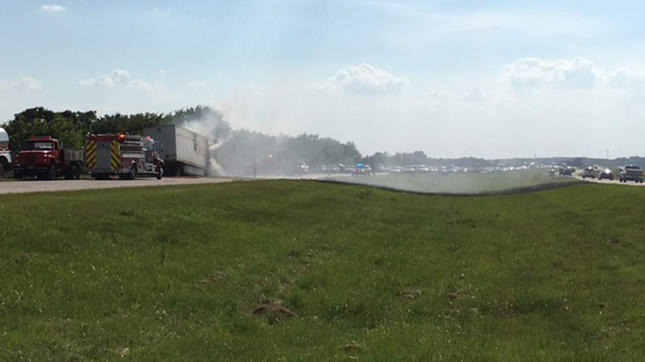 Semi Fire Slows Traffic On Highway 412 Near Inola