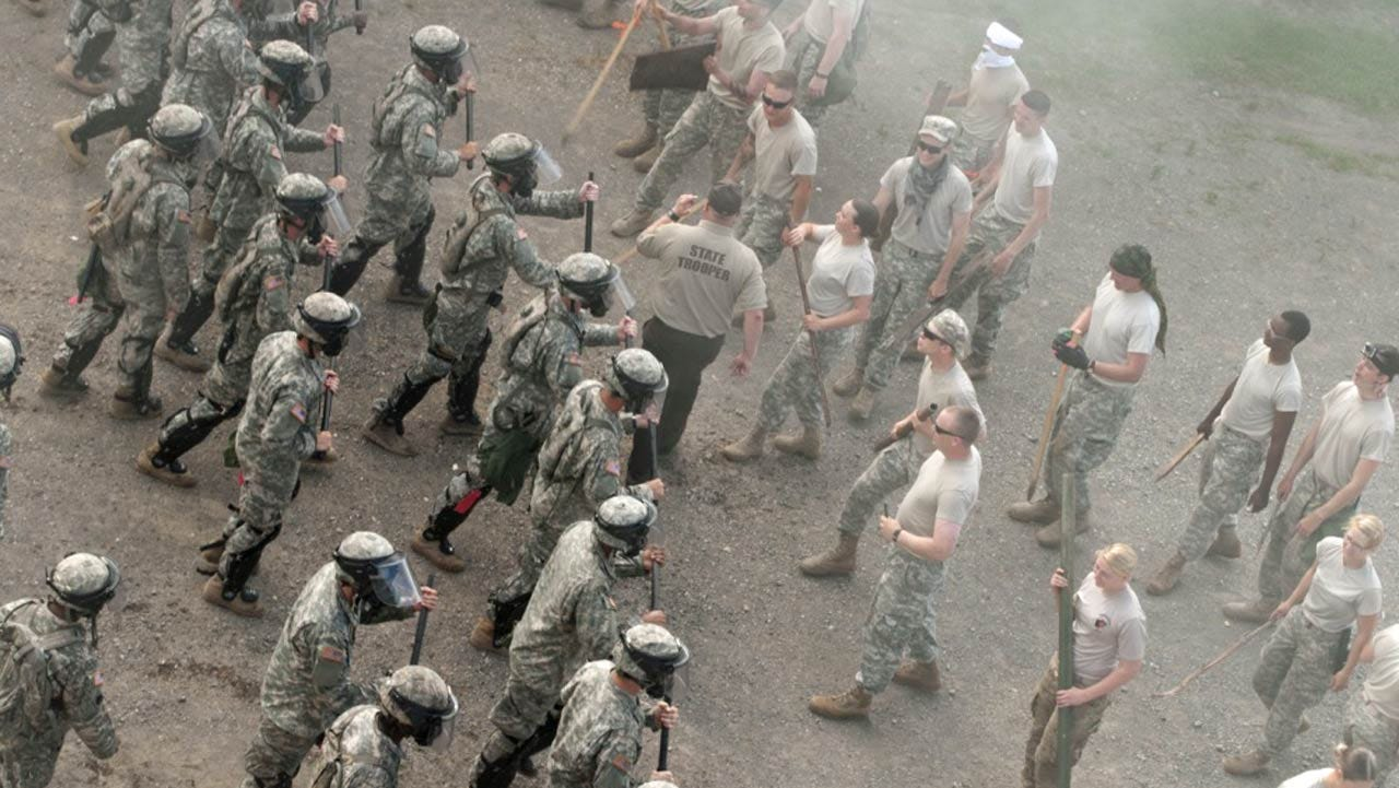 National Guard Soldiers Conduct Riot-Control Training At Camp Gruber