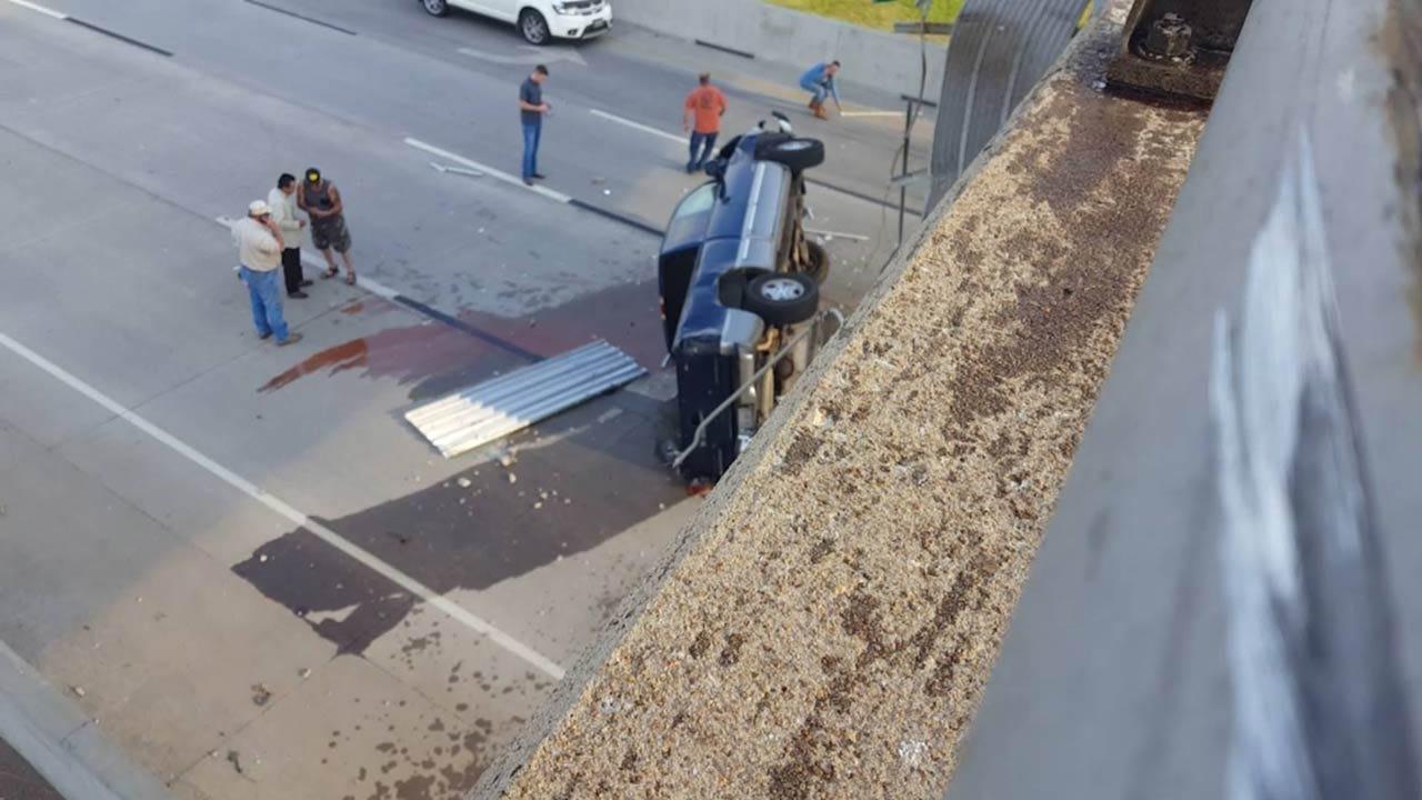 Truck Runs Off Tulsa Bridge, Lands On Highway Below