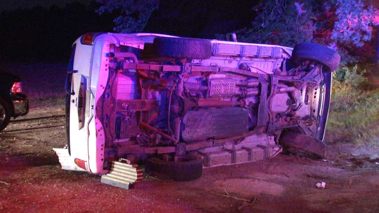 Police: Driver Arrested, Passenger Injured In Tulsa Rollover Crash