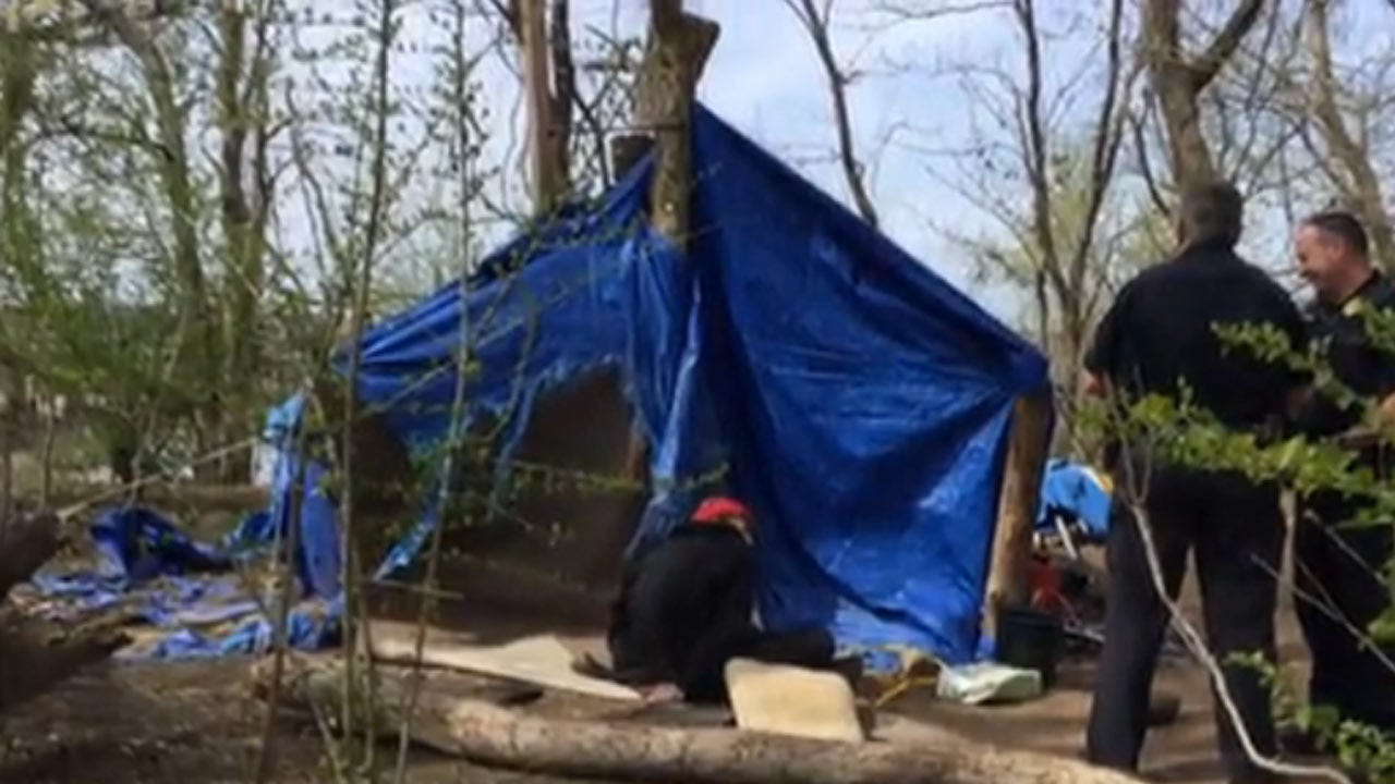 Police Officers Clear Out South Tulsa Homeless Camp