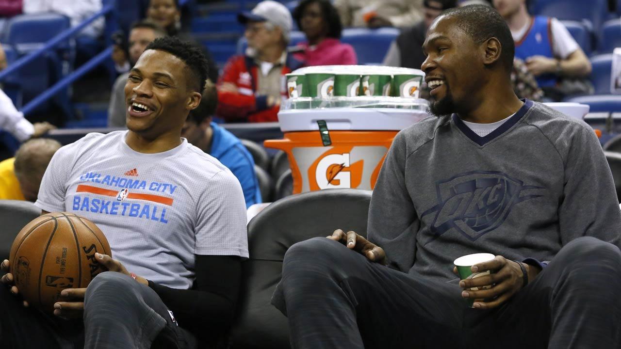 Durant, Westbrook Preview Game vs. Celtics