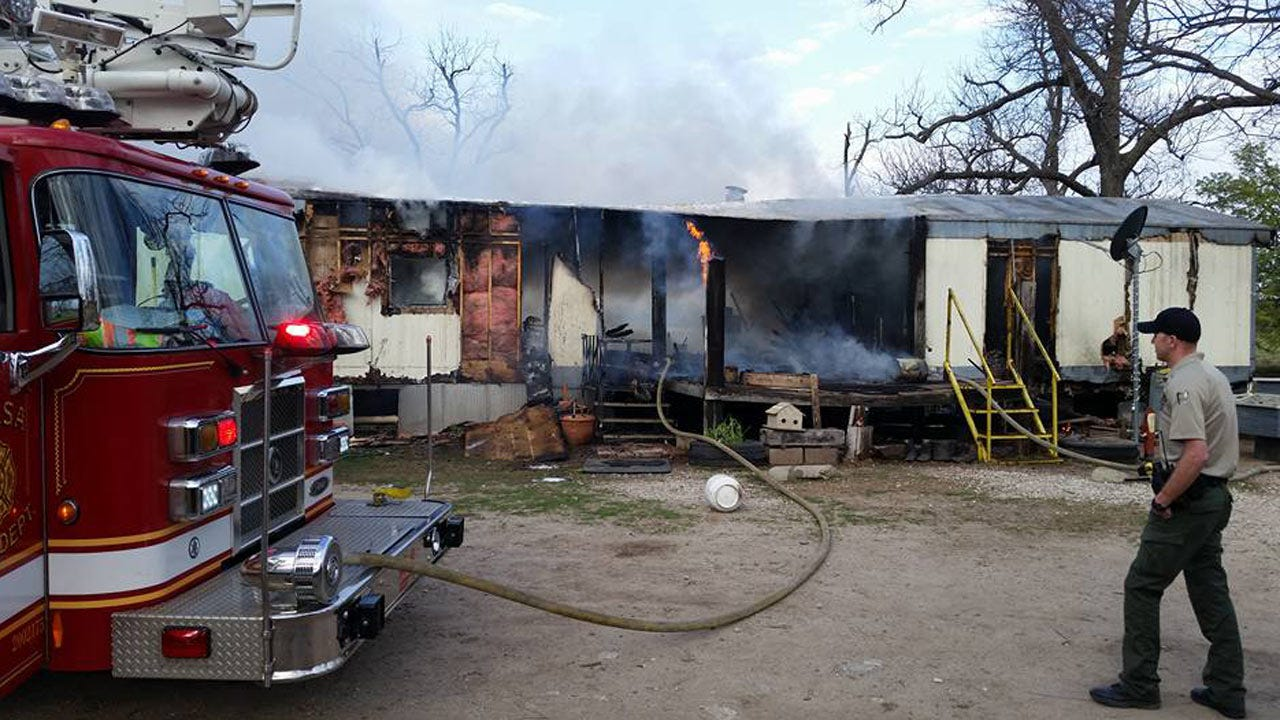 Fire Destroys Sperry Mobile Home