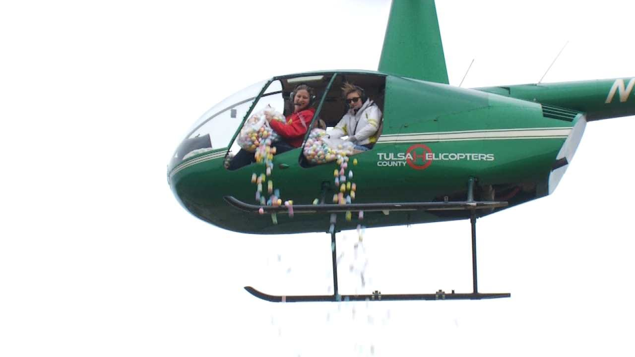 Helicopters Drop 20,000 Eggs In Sand Springs On Easter Sunday