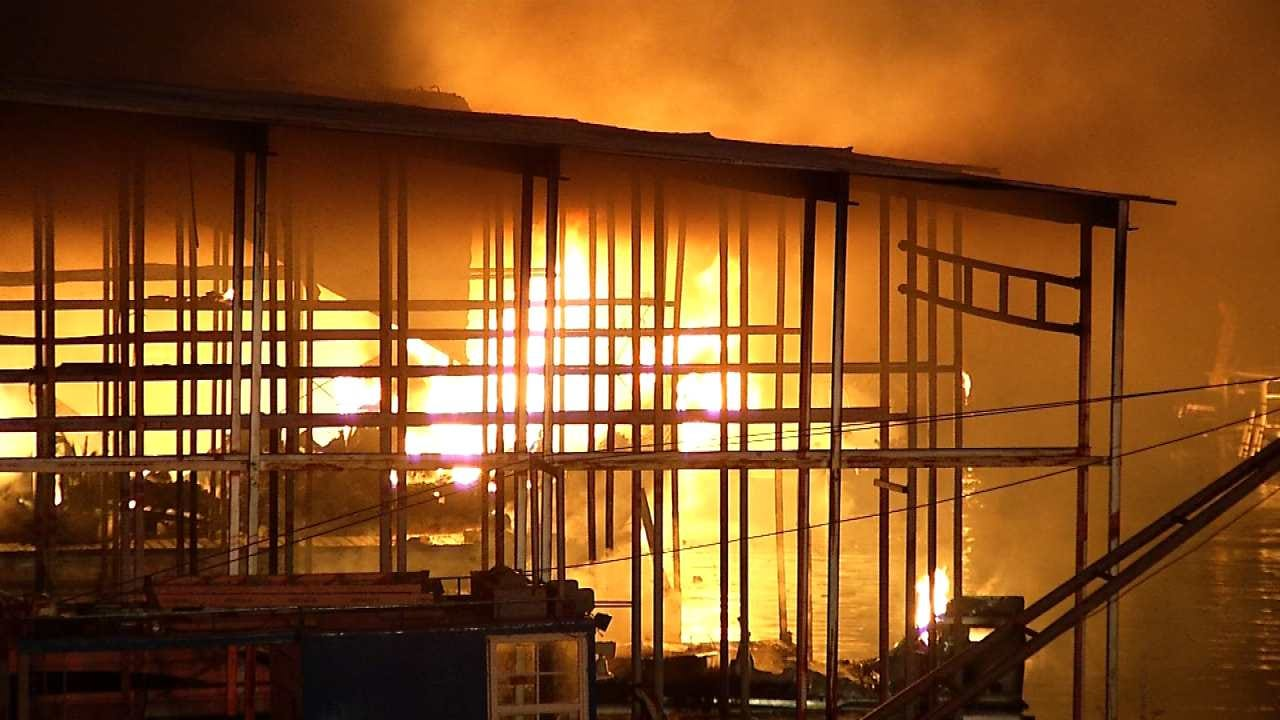 Fire Destroys Boats At Keystone Lake Pier 51 Marina