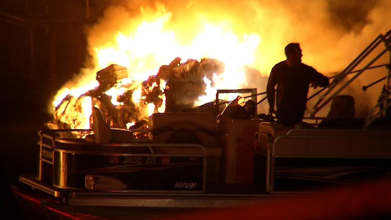Fire Marshal Confirms Keystone Lake Dock Fire Started On Houseboat