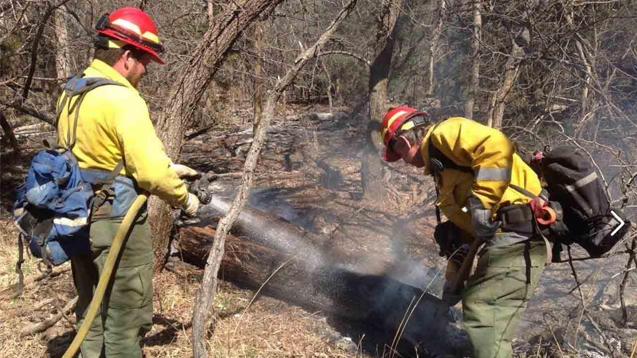 Oklahoma Firefighters Help Battle Kansas Wildfire