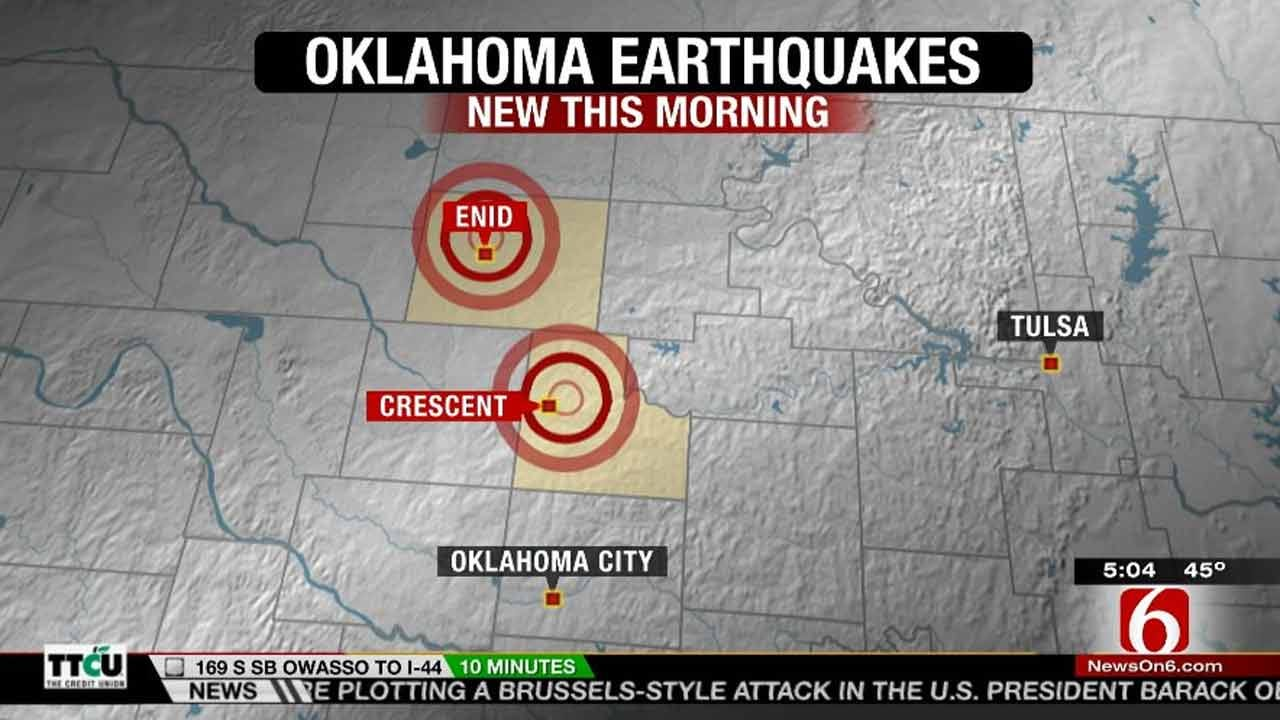 Earthquakes Reported Near Crescent, Enid