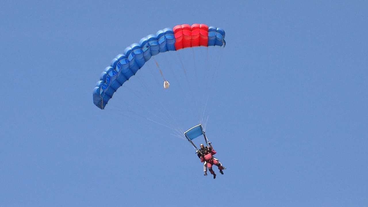 Sand Springs Superintendent Lloyd Snow Parachutes As Promised