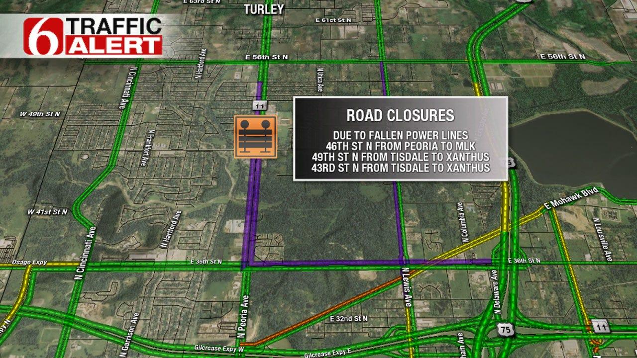 Fallen Power Lines Close Several Tulsa Streets