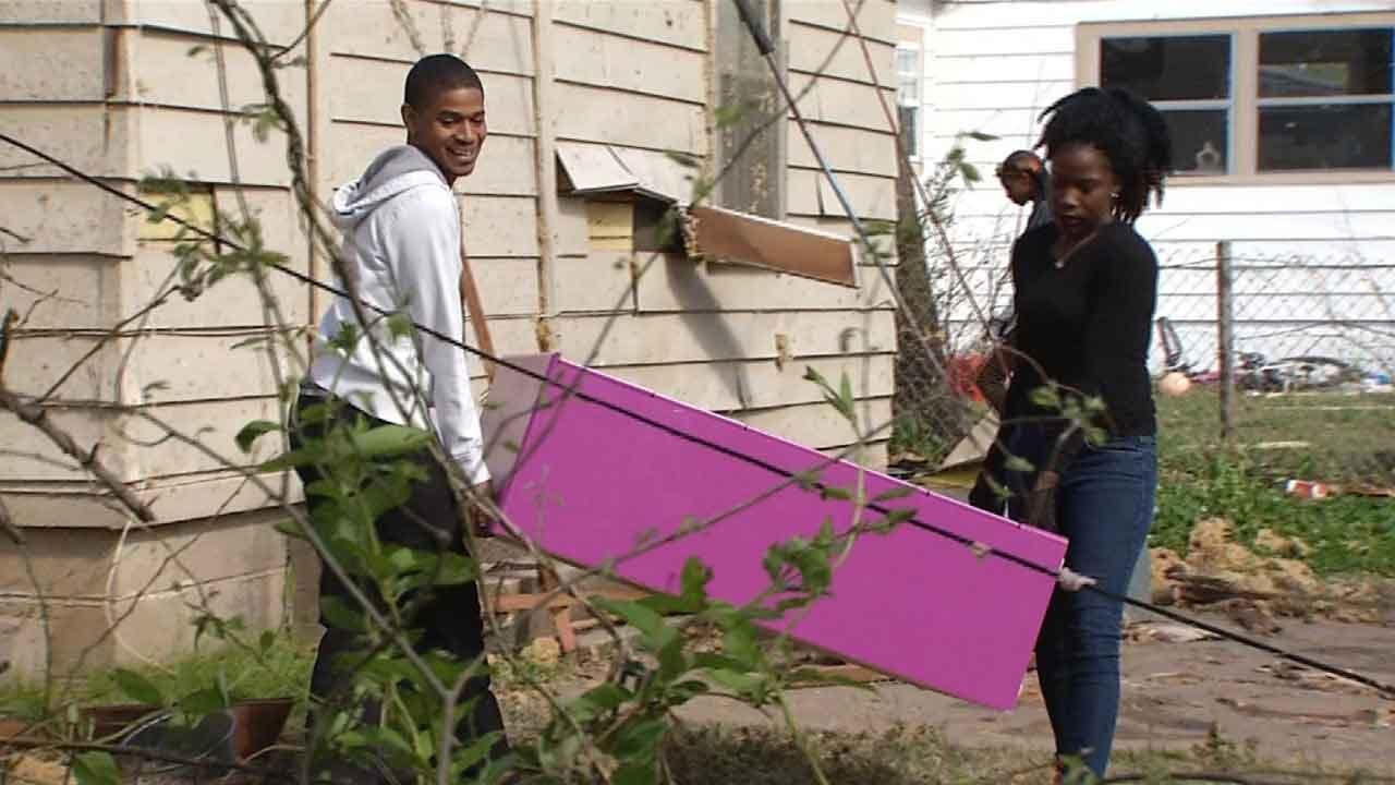 Tulsa Neighbors Come Together To Clean Up Tornado Damage