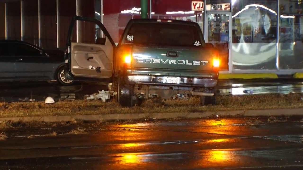 Crash Knocks Down Tulsa Power Pole, Damages Gas Meter