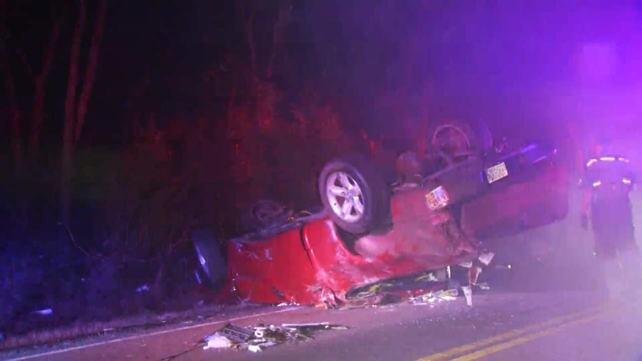 Wet Road, Speed Lead To Tulsa Rollover Crash, Police Say