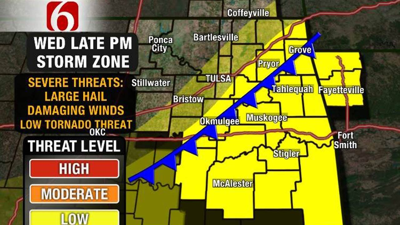 Cold Front Could Produce Severe Storms Across Eastern Oklahoma