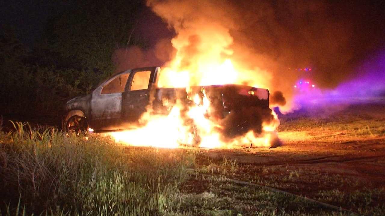 Caught On Video: Burning Tulsa Pickup's Tire Explodes