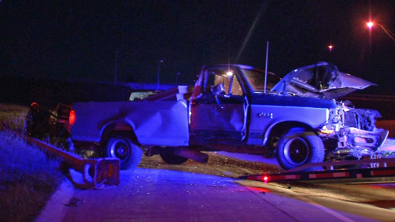 Sleepy Driver Crashes On I-244 In Tulsa