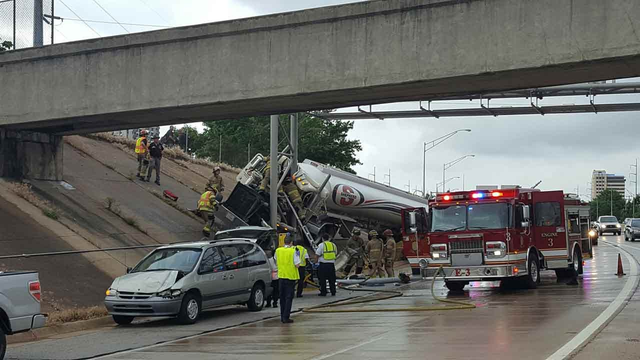 Driver Rescued After Semi Crashes In Downtown Tulsa
