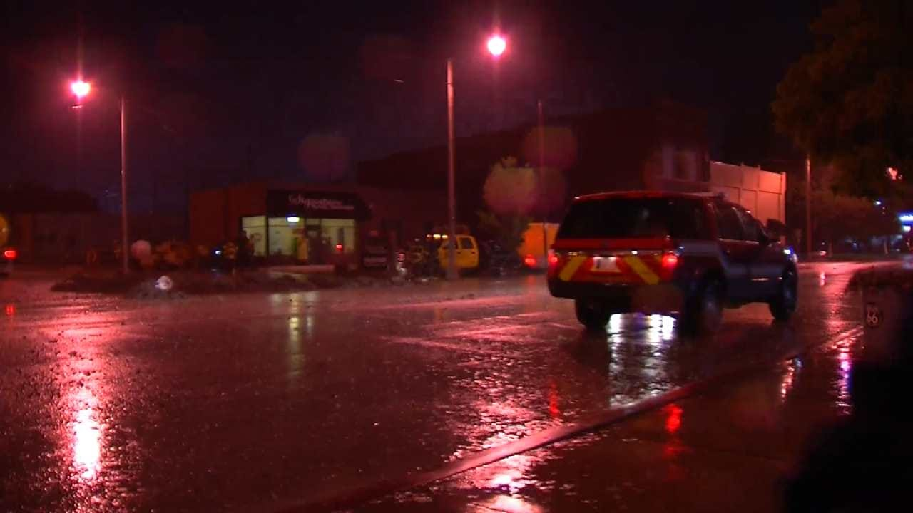 Heavy Rains Leads To Fuel Leak In Downtown Sapulpa