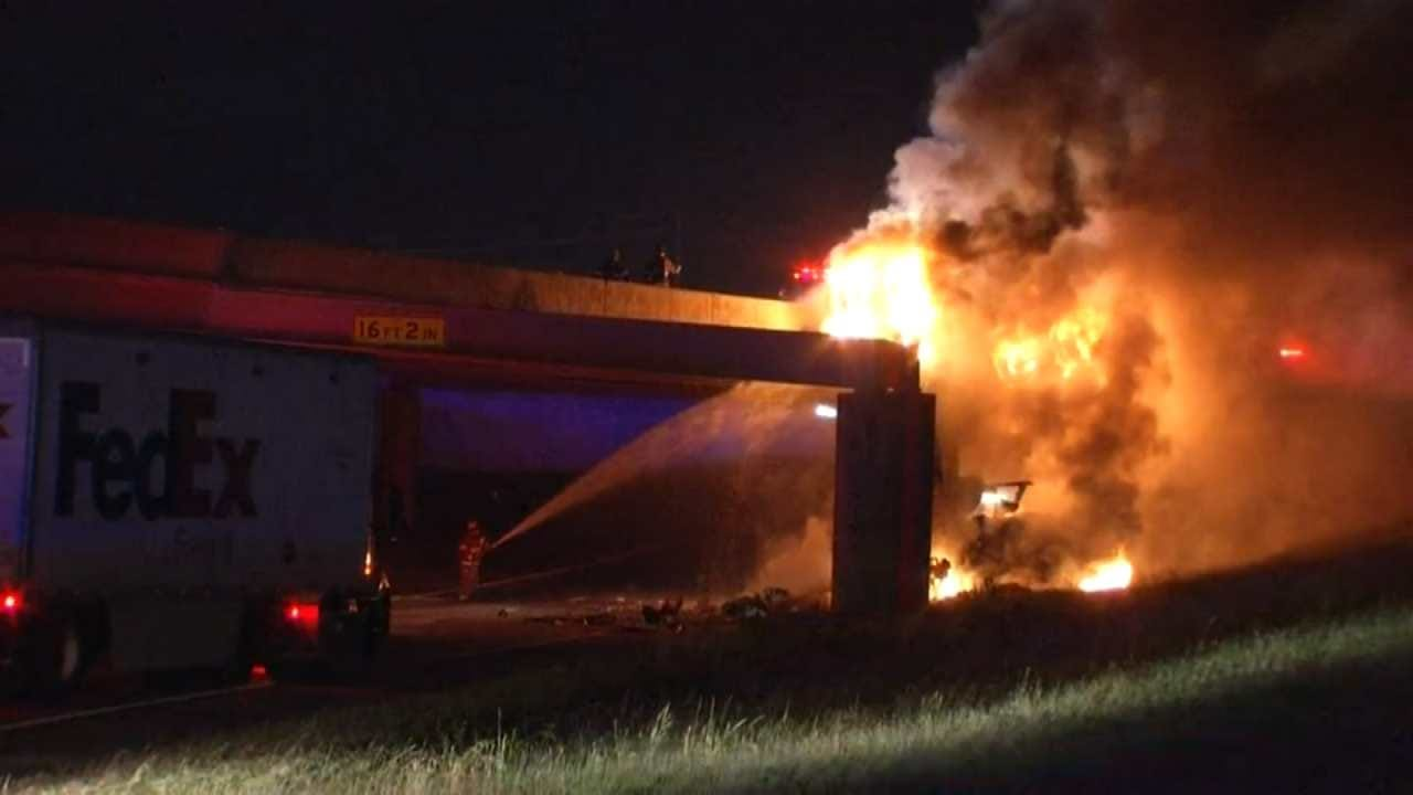 Driver Dies When Truck Crashes Off Turner Turnpike, Catches Fire