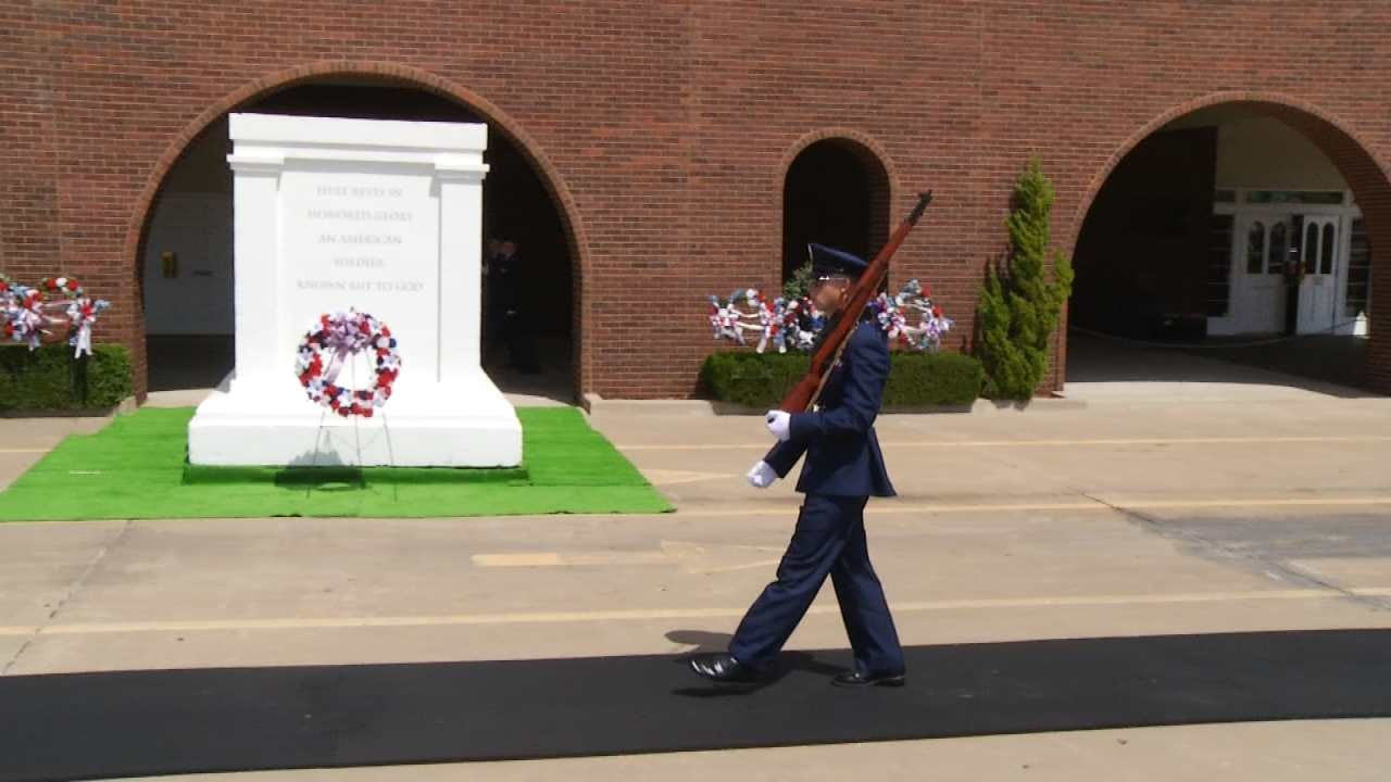 Cadets Re-Enact Changing Of The Guard At BA's Floral Haven Cemetery