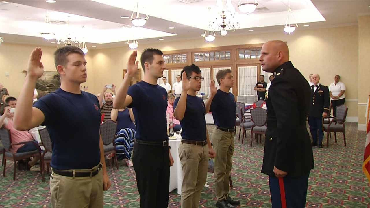 New Marines Enlist In Front Of Retired Tulsa Veterans