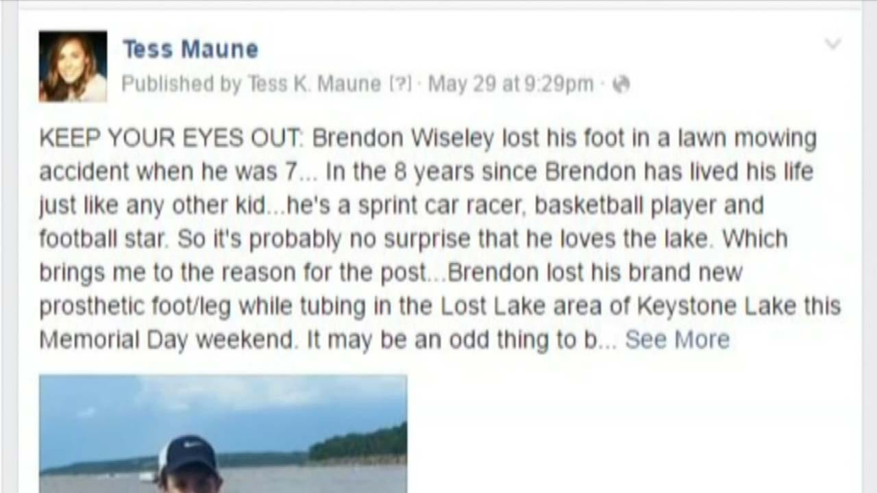 Dive Teams Searching Keystone Lake For Teen's Prosthetic Leg