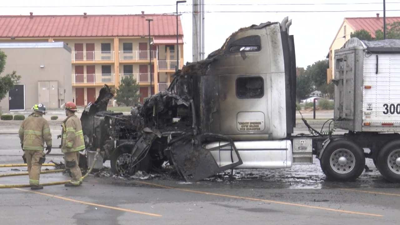 Fire Destroys Truck Parked Near Tulsa Grocery Store