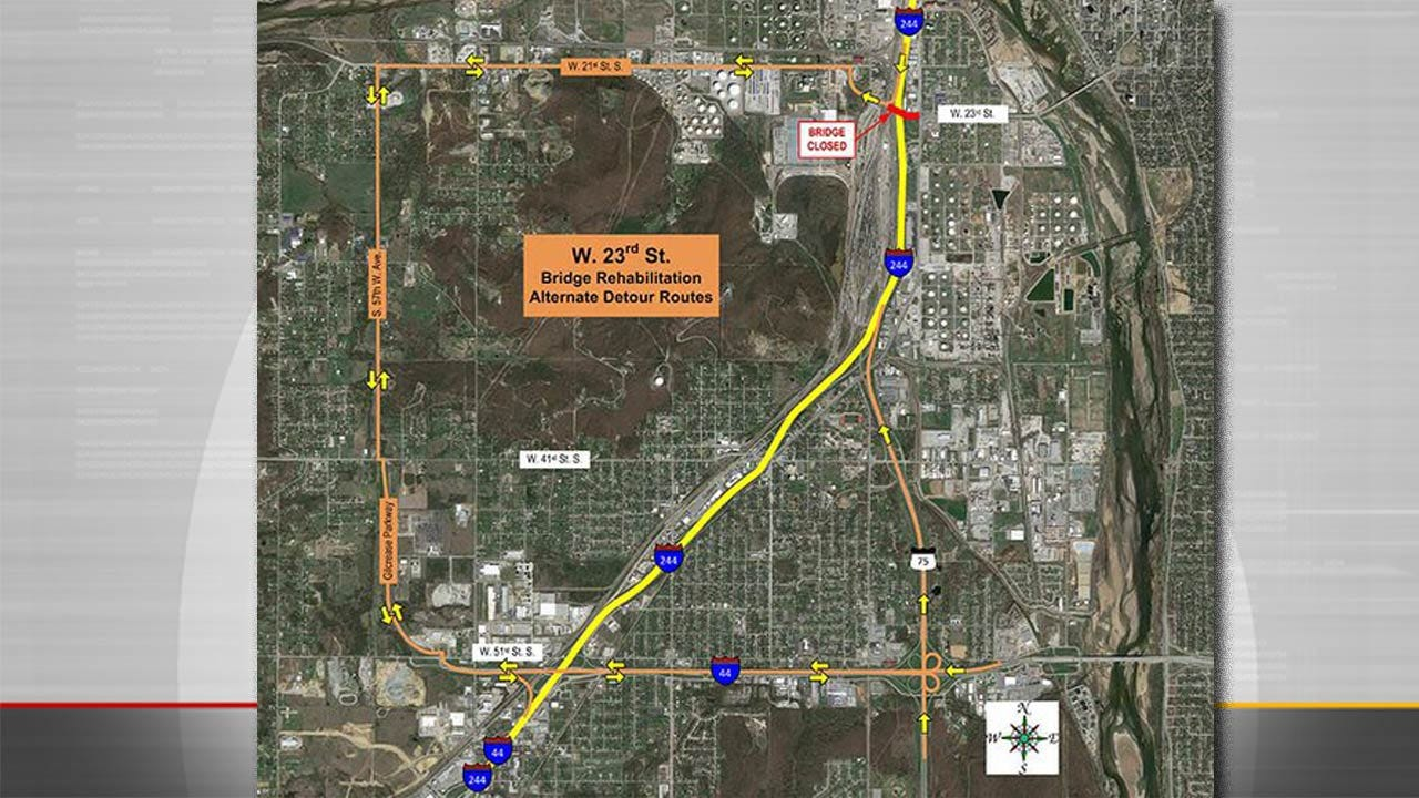 West Tulsa Highway Bridge Closed For Rehab Project