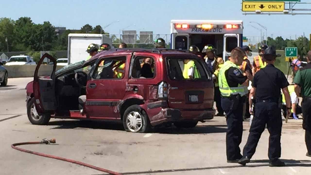Van Rolls After Crash With Semi On U.S. 169