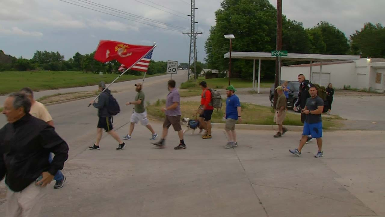 Oklahomans Start 70-Mile Walk To Remember Fallen Hero