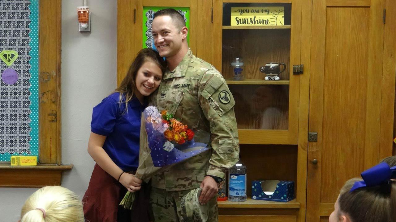 Returning Coffeyville Soldier Surprises Daughter At School