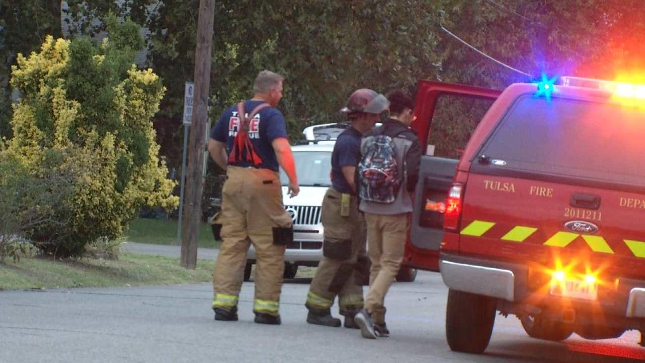 Mail Truck Crashes Through Utility Pole Into Tulsa Yard