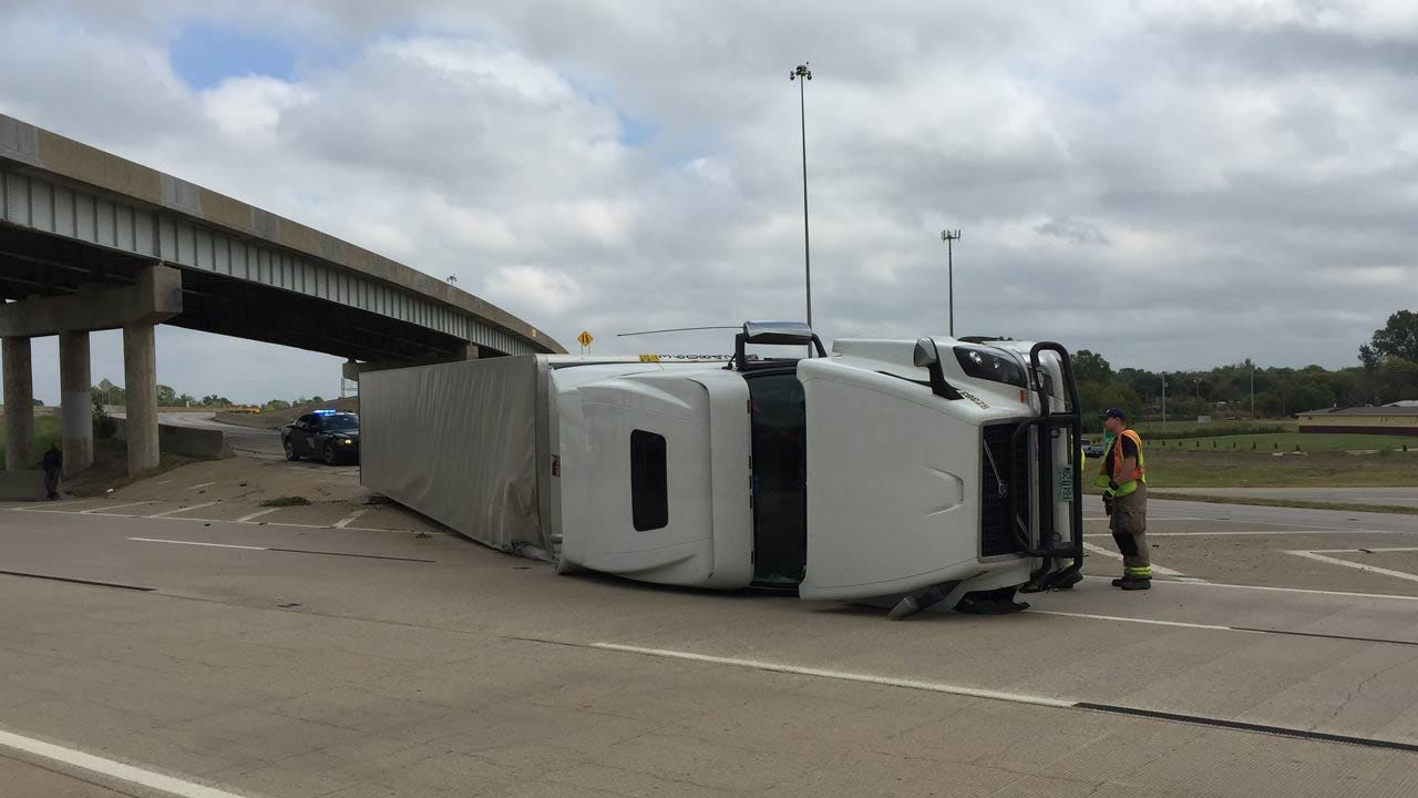 Overturned Semi Wreck Blocks Tulsa Highway Exit Ramp