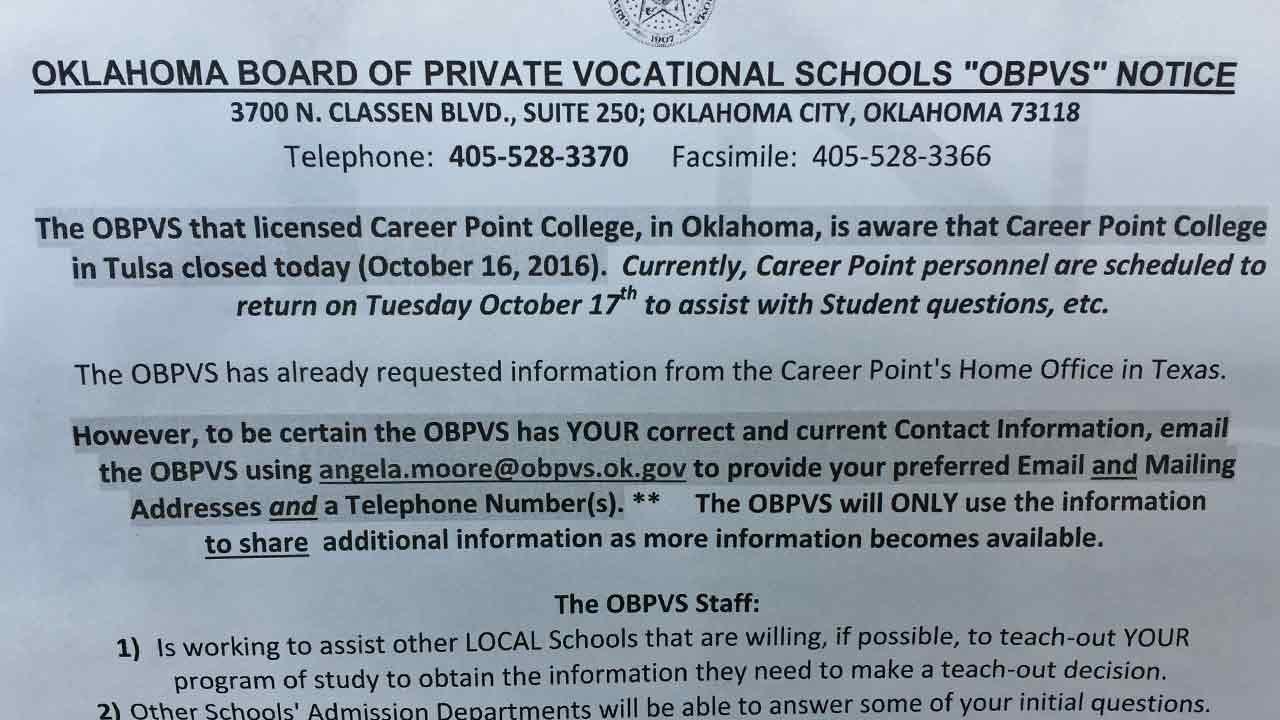 Career Point College Closes Tulsa School