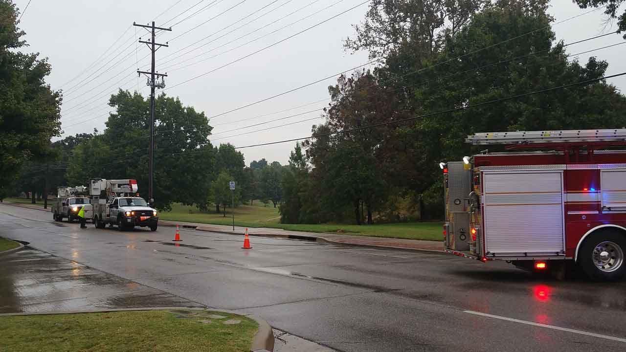 Downed Power Lines Block Tulsa Road