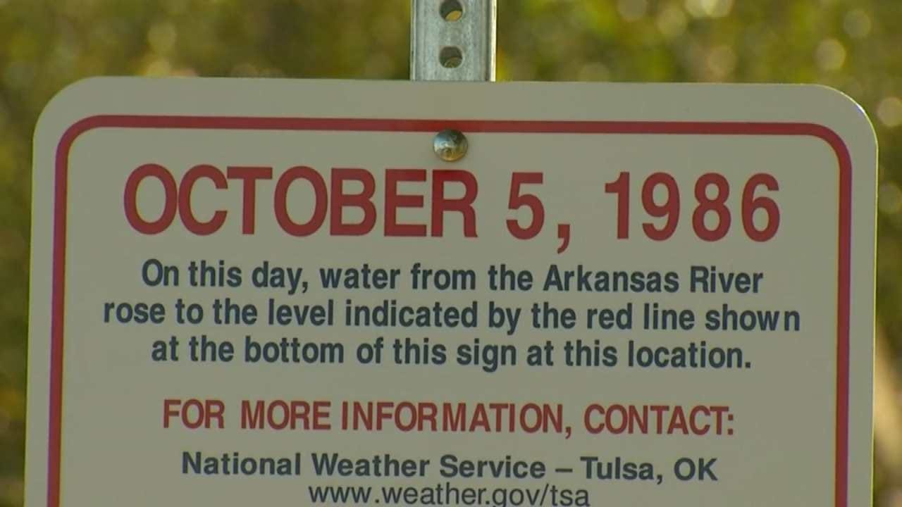 Tulsa Unveils New High Water Sign Commemorating 1986 Flood