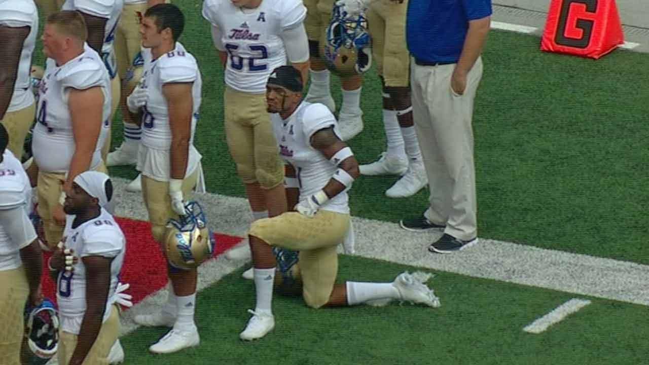 TU Cornerback Kneels During National Anthem