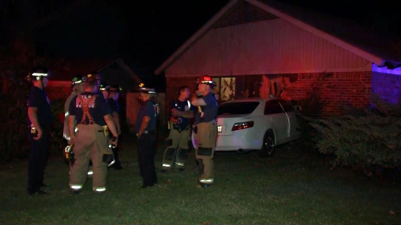 Family OK After Car Crashes Into Tulsa Home