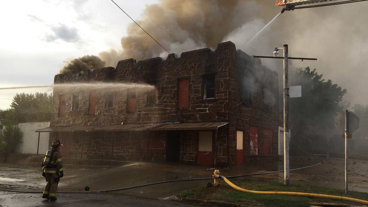 Firefighters Battle Flames At Sand Springs Building