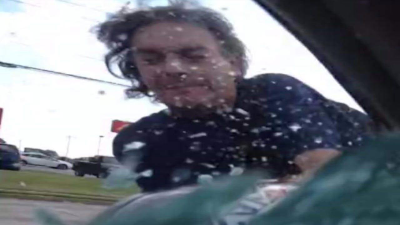 Tulsa Mother Captures Motorcycle Driver Smashing Window With Helmet