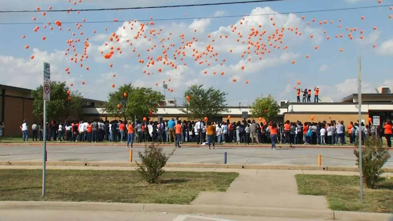 Tulsa Schools Release Balloons In Memory Of Terence Crutcher