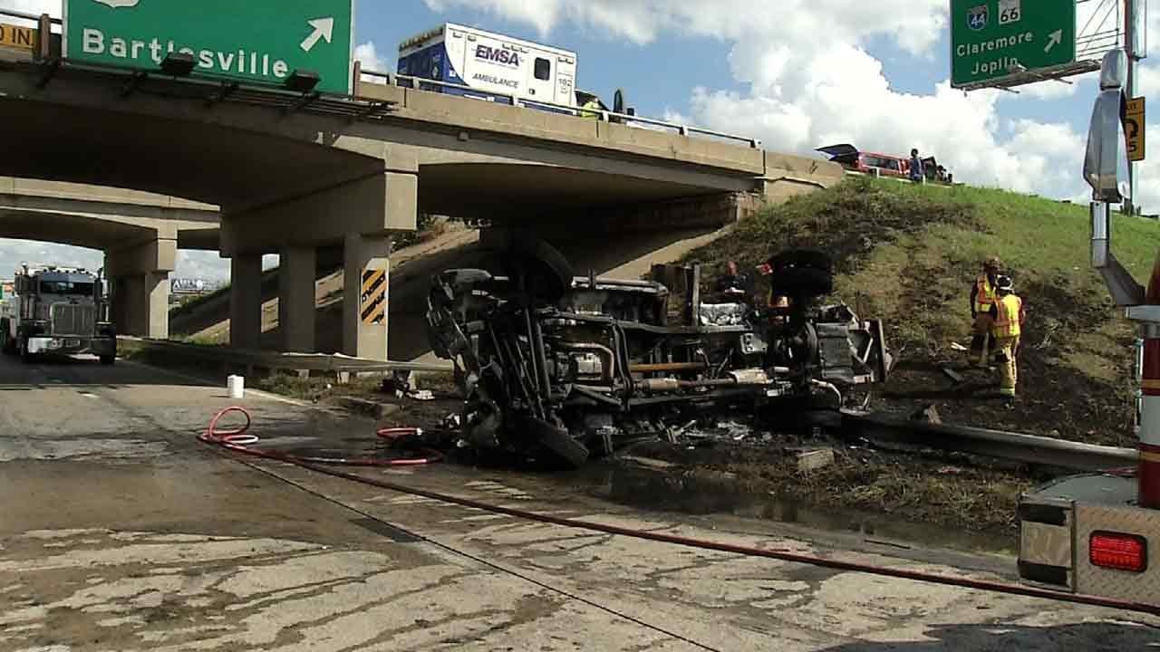 Driver Not Seriously Hurt After Crashing Through Guard Rail On Tulsa Highway