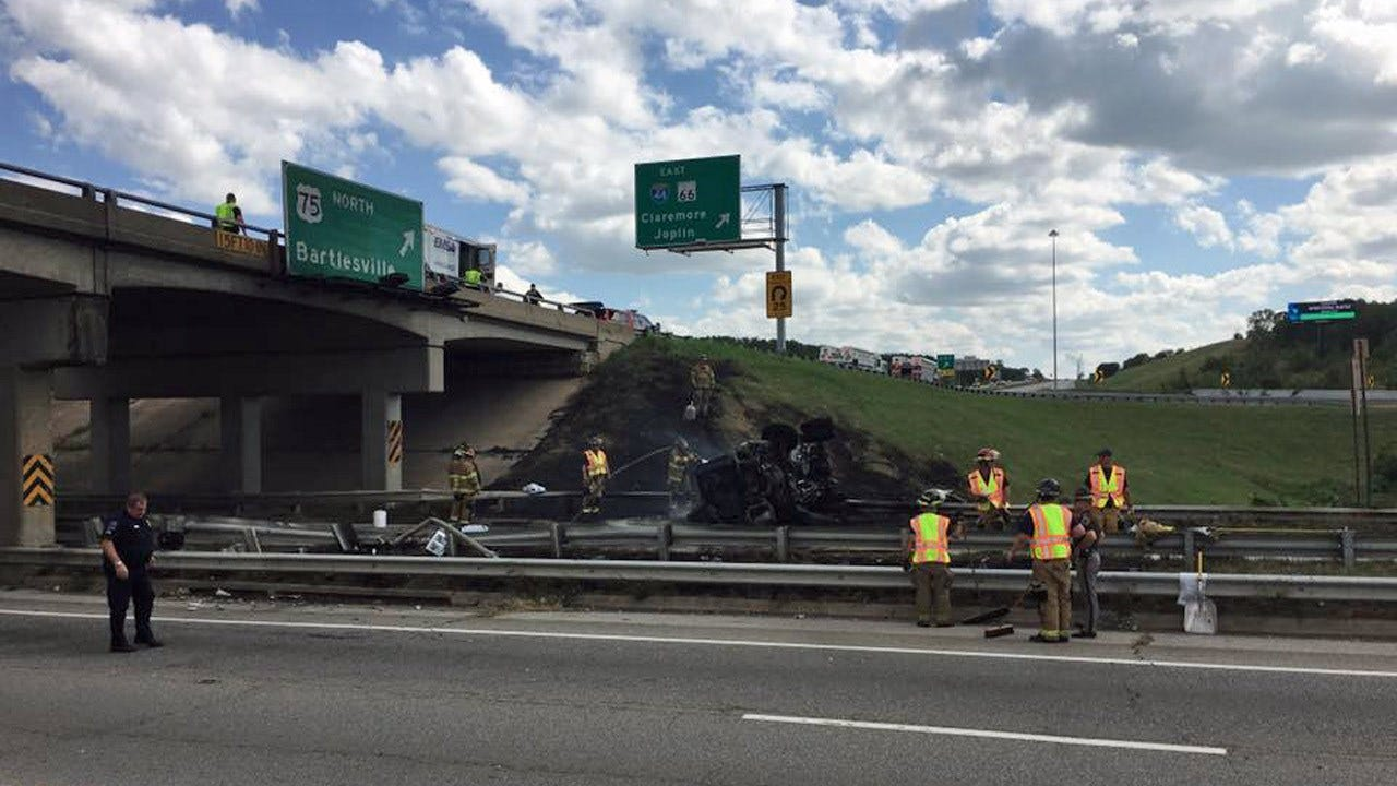Truck Bursts Into Flames After Crashing On I-44 In Tulsa