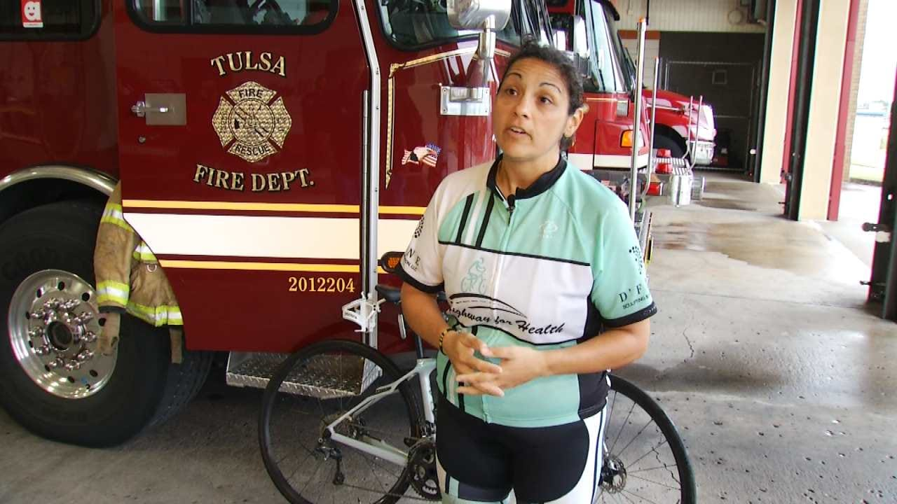 Woman Cycles For Child Obesity, Bullying Awareness