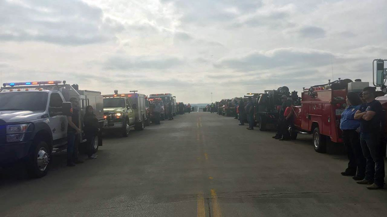 Fire Trucks Line Roads At Funeral For Ochelata 8 Year Old