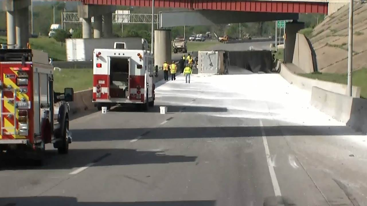 Road Back Open After Semi Dumps Fertilizer On Tulsa's IDL