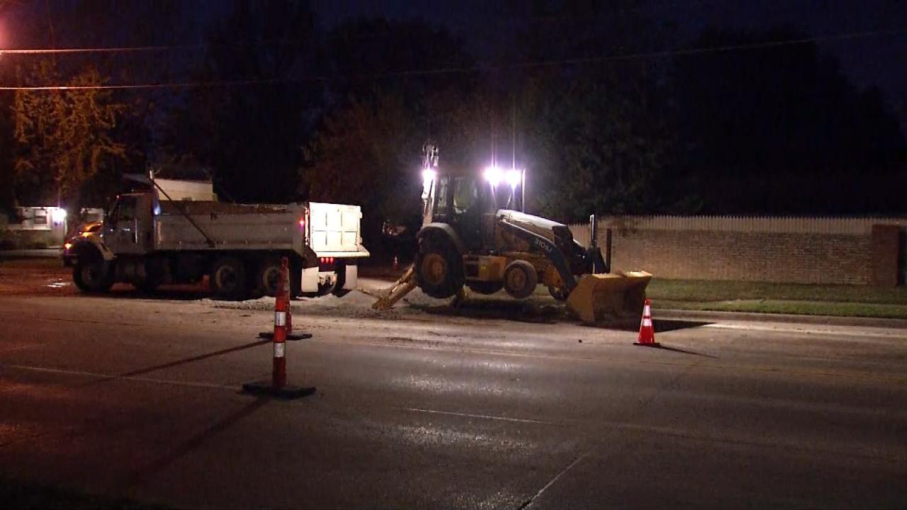 Water Line Repair Leads To SUV Crash On Tulsa Street